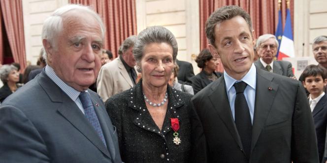Antoine et Simone Veil aux côtés de Nicolas Sarkozy, en 2009.