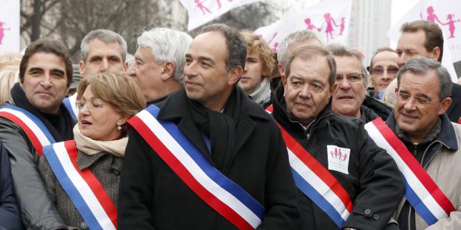 Des responsables de l'UMP, dont Jean-François Copé et Christian Jacob lors d'une manif contre le mariage pour tous, le 13 janvier.