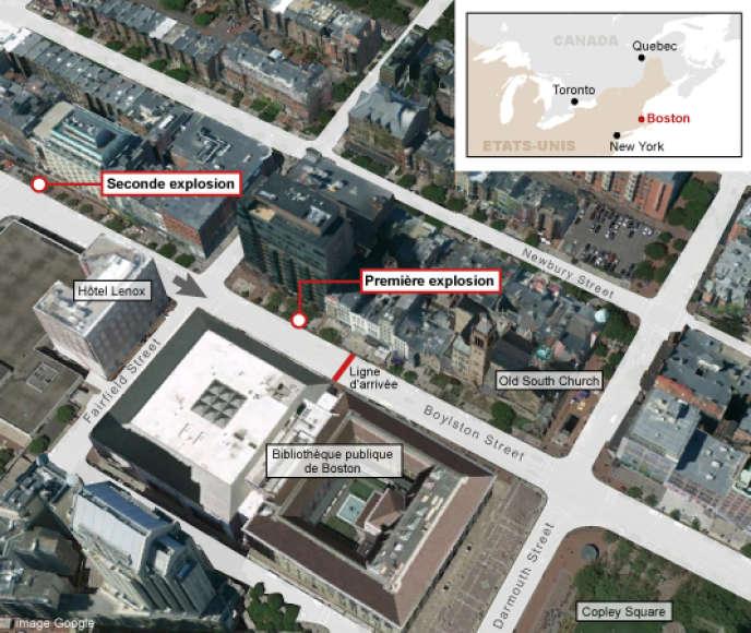Le lieu des deux explosions lors du marathon de Boston.