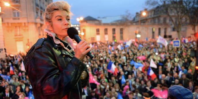 Frigide Barjot, une des porte-parole de La Manif pour tous, le 16 avril à Paris.