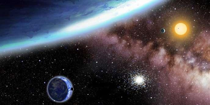 Vue d'artiste, diffusée par le Harvard Smithsonian Center for Astrophysics, des exoplanètes Kepler-62e et f.
