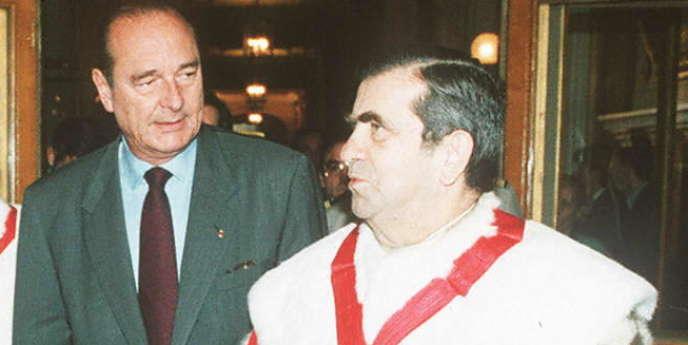 Pierre Drai, alors président de la Cour de cassation, en compagnie de Jacques Chirac, en 1996.