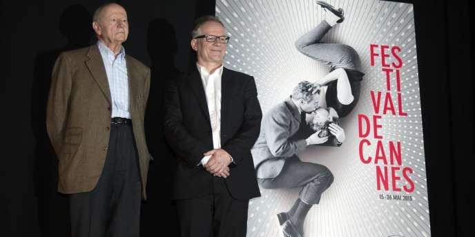 Gilles Jacob, président du Festival de Cannes (à gauche) et Thierry Frémaux, délégué général, lors de la conférence de presse du 66e Festival de Cannes, à Paris, le 18 avril 2013.