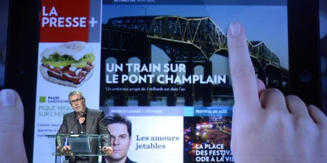 Guy Crevier, président et éditeur de La Presse, lors de la présentation de la nouvelle plateforme numérique La Presse+.
