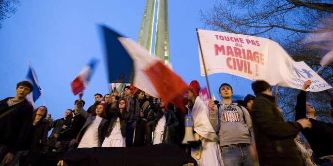 Manifestation contre le mariage gay le 18 avril à Nantes.