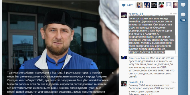 La réaction de Ramzan Kadyrov.