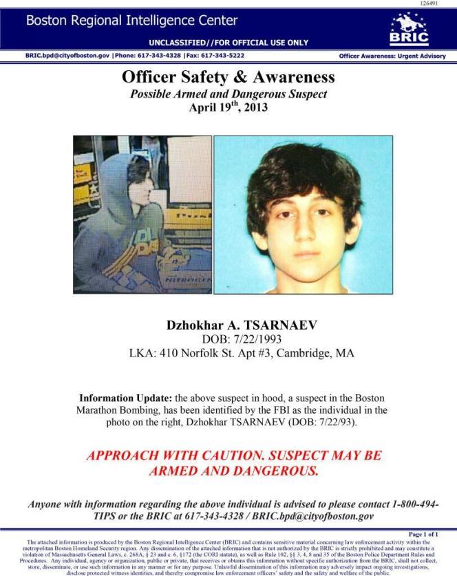 Avis de recherche à l'encontre de Djokhar A. Tsarnaev, suspecté d'être un des auteurs de l'attentat de Boston, le 15 avril.