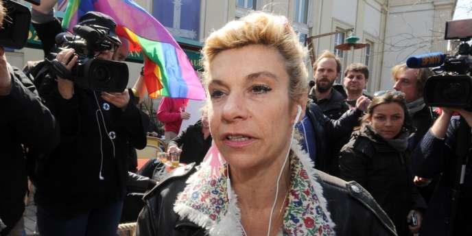 Frigide Barjot à la manifestation contre le mariage pour tous le 21 avril à Paris.