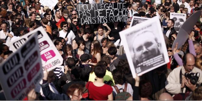 Des appels à manifester samedi à La Roche-sur-Yon ont été relayés de la part de partisans et d'opposants au mariage homosexuel – ici la manifestation pro-mariage gay, place de la Bastille, le dimanche 21 avril.