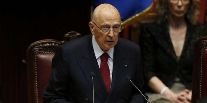 Le président italien Giorgio Napolitano prête serment, le 22 avril à Rome.