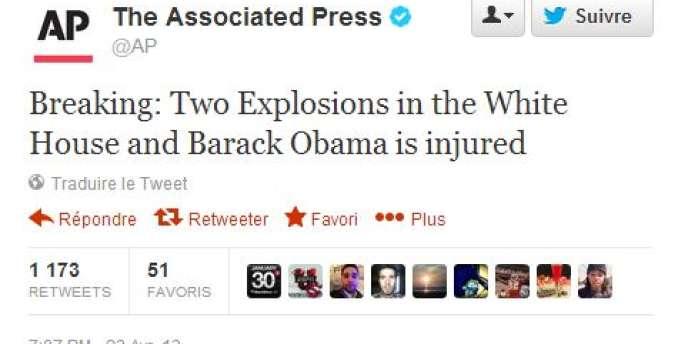 Le message publié sur le compte de l'Associated Press peu après son piratage.