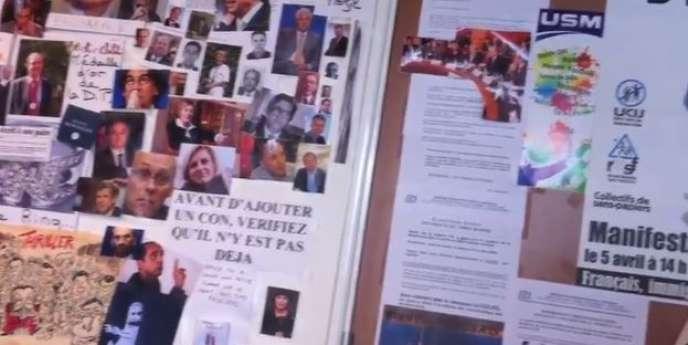 Le «mur des cons» découvert dans les locaux du Syndicat de la magistrature.