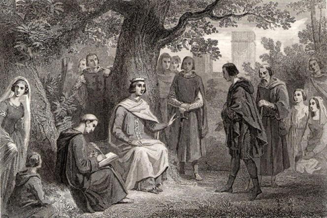Louis IX rendant la justice sous son chêne, à Vincennes. Gravure du XIXe siècle.