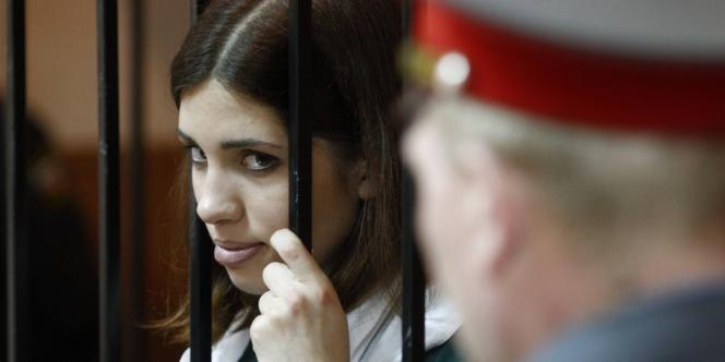 La Pussy Riot Nadia Tolokonnikova au cours d'une audition à Zubova Polyana, le 26 avril 2013.