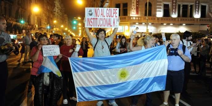Manifestation contre la réforme judiciaire soutenue par la présidente Cristina Kirchner, le 25 avril 2013 à Buenos Aires.