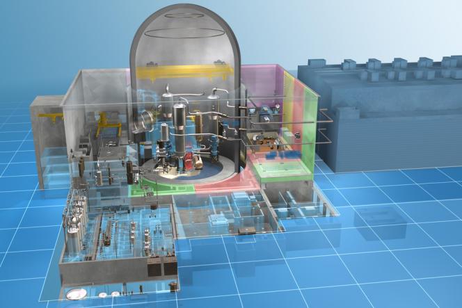 La maquette de l'Atmea 1, futur réacteur à eau sous pression de troisième génération qui sera construit, en Turquie, par Mitsubishi et Areva.