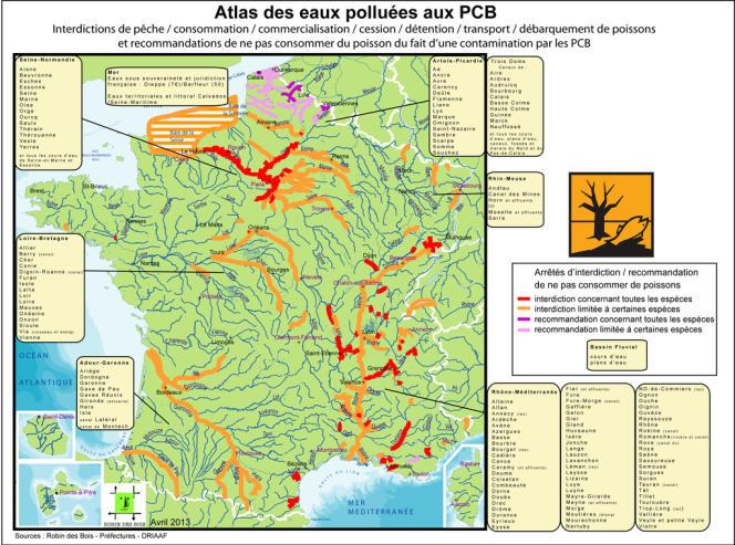 La carte des rivières polluées en avril 2013.