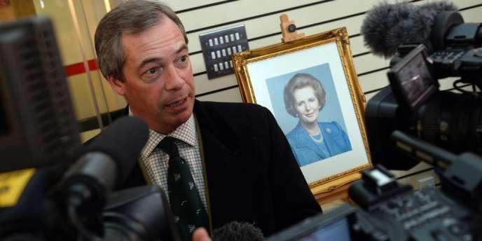 Le chef du parti populiste de l'UKIP Nigel Farage s'exprimait à l'occasion du décès de Margaret Thatcher, le 9 avril 2013.
