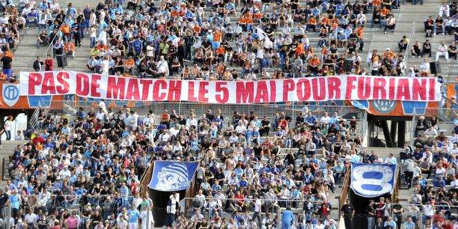 Une banderole avant le match Marseille-Bastia, le 4 mai 2012.