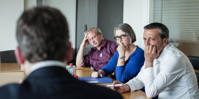 Rencontre et interview entre JP Mercier, Arnaud Montebourg , Nathalie Durand-Prinborgne FO, Edouard Martin CFDT