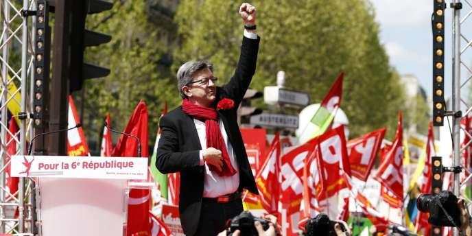 Jean-Luc Mélenchon, leader du Front de gauche, lors de la manifestation du 5 mai.