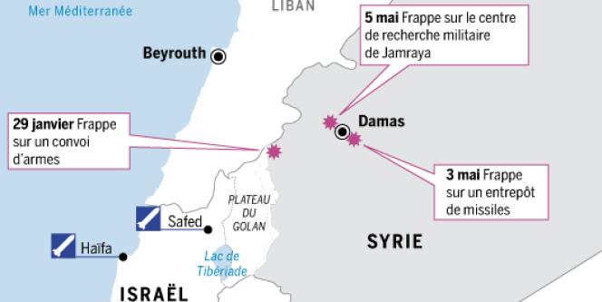 Lorsqu'Israël a mené des attaques aériennes contre des sites militaires en Syrie, les 29 janvier, 3 et 5 mai, il a pris soin de ne pas violer l'espace aérien syrien.