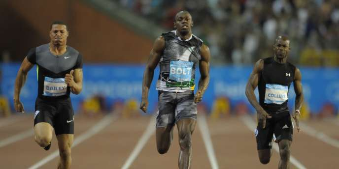Usain Bolt (au milieu), le 7 septembre à Bruxelles.