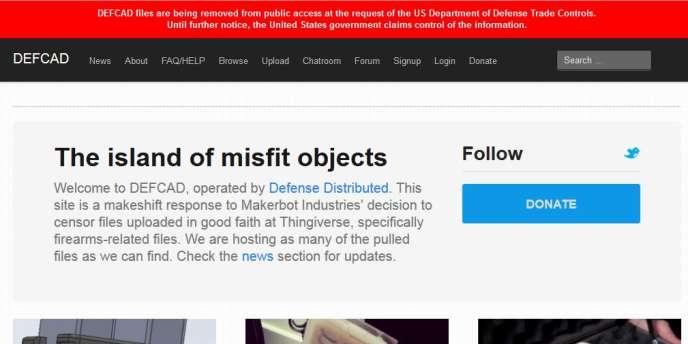 La page d'accueil du site Defcad.