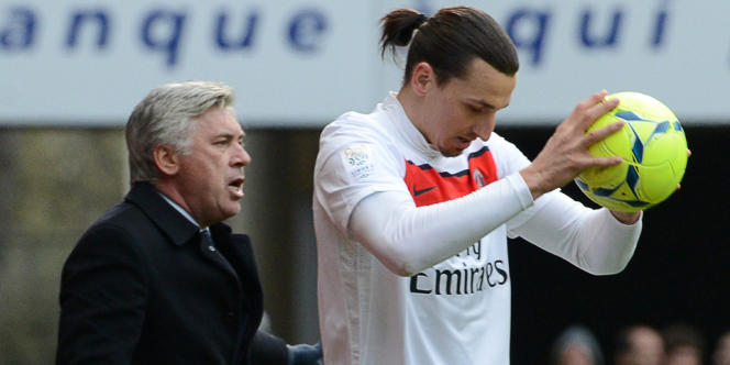 L'entraîneur Carlo Ancelotti et Zlatan Ibrahimovic, buteur du PSG.
