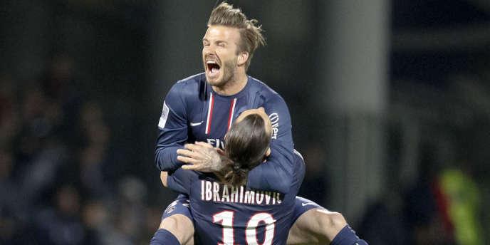 David Beckham et Zlatan Ibrahimovic après le victoire du PSG face à l'OL, le 12 mai 2013.