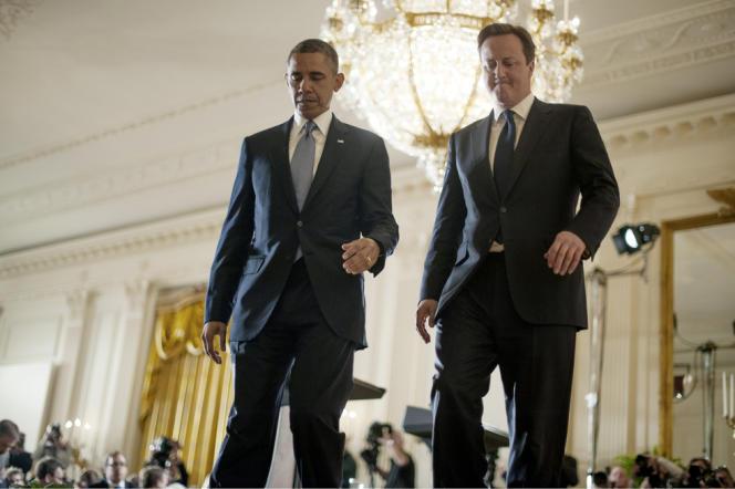 Barack Obama et David Cameron après une conférence de presse à la Maison Blanche le 13 mai 2013.