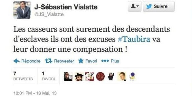 Le fameux tweet du député Jean-Sébastien Vialatte.