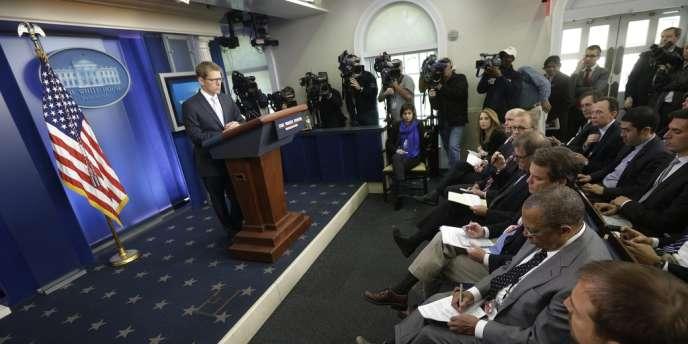 Dans la salle de presse de la Maison Blanche, le 14 mai.