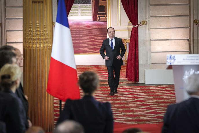 François Hollande lors de sa deuxième conférence de presse à l'Elysée jeudi 16 mai.