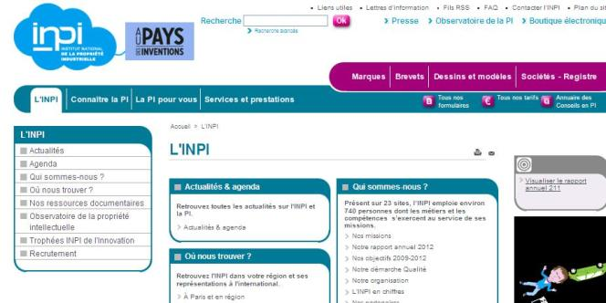 Page d'accueil de l'INPI.