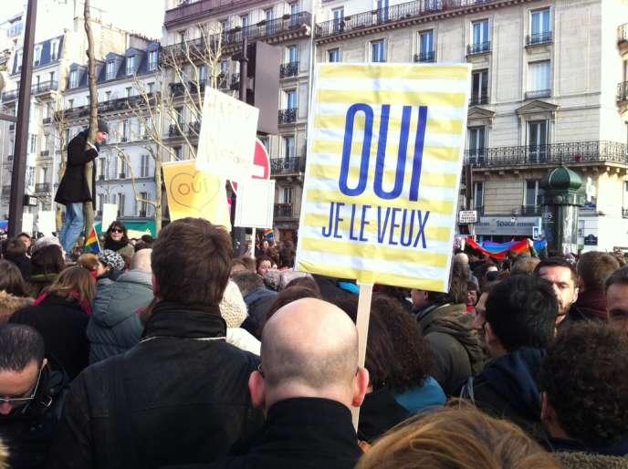Dans la manifestation en faveur du mariage homosexuel à Paris, le 27 janvier.