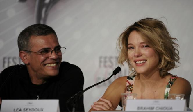Le réalisateur Abdellatif Kechiche et l'actrice Léa Seydoux lors de la conférence de presse du film