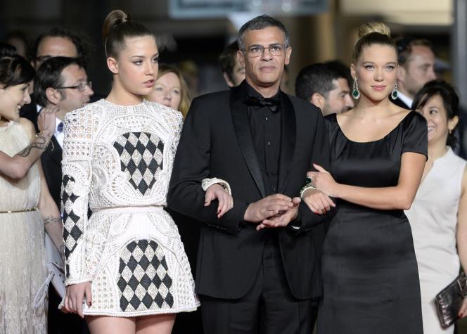 Adèle Exarchopoulos, Abdellatif Kechiche et Léa Seydoux lors de la montée des marches pour le film