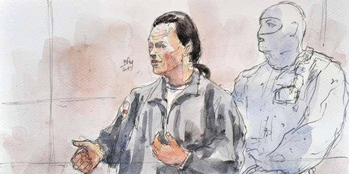Croquis représentant Tony Meilhon durant son procès à Nantes, le 22 mai.