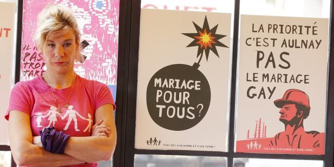 L'une des principales meneuses de La Manif pour tous, Frigide Barjot, de son vrai nom Virginie Tellène.
