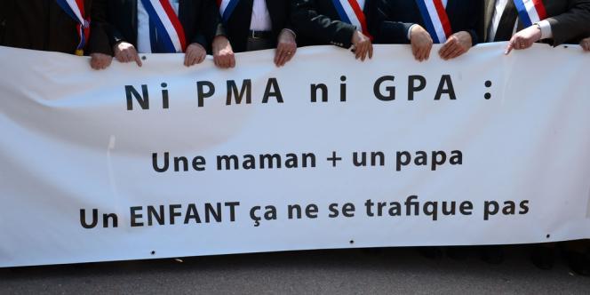Manifestation contre le mariage homosexuel à Lyon, le 5 mai.