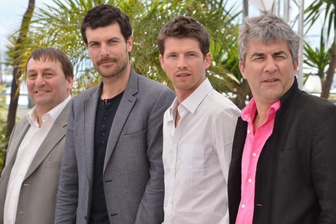 De gauche à droite : les acteurs Patrick d'Assumcao, Christophe Paou, Pierre Deladonchamps et le réalisateur Alain Guiraudie pour