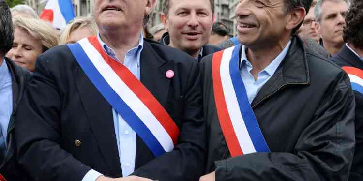 Le président de l'UMP Jean-Francois Copé et le député Claude Gloasguen se sont joint au défilé de ce dimanche, pour protester contre la loi sur la mariage homosexuel.
