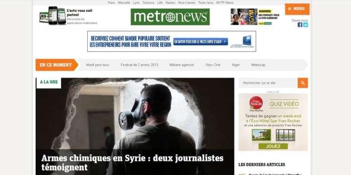 La page d'accueil du nouveau site de MetroNews.