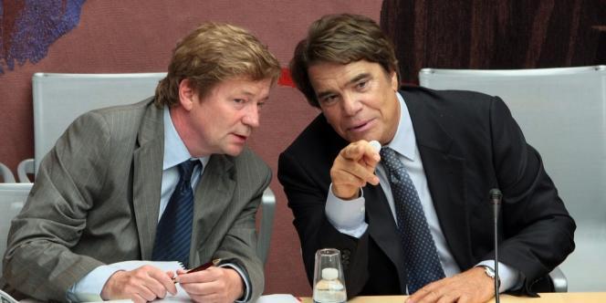 Bernard Tapie (à droite) et son avocat Maurice Lantourne, en septembre 2008.