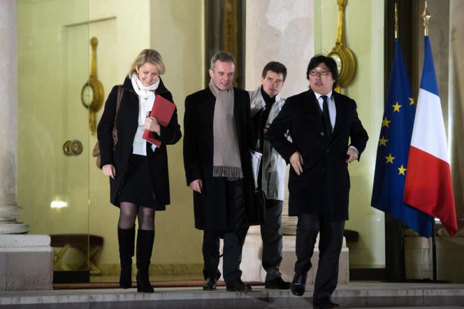 Barbara Pompili, Francois de Rugy, Pascal Durand et Jean-Vincent Placé sortant de l'Elysée le 28 novembre 2012.