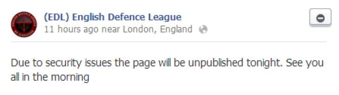 Capture d'écran de la page Facebook de l'English Defence League.