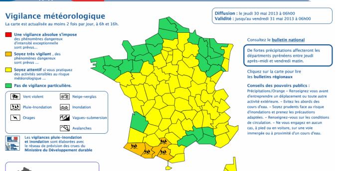 Capture écran de la vigilance météorologique lancée jeudi 30 mai par Météo France.