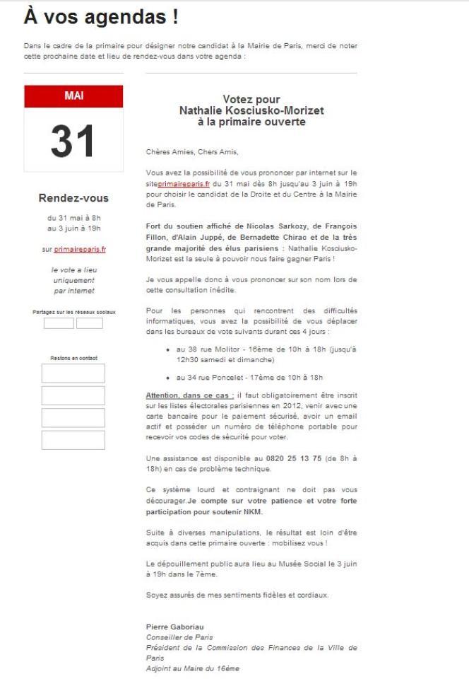 Le mail de Pierre Gaboriau aux militants que s'est procuré