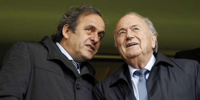 Michel Platini, président de l'UEFA, et Sepp Blatter, président de la FIFA, le 23 mai à Londres.